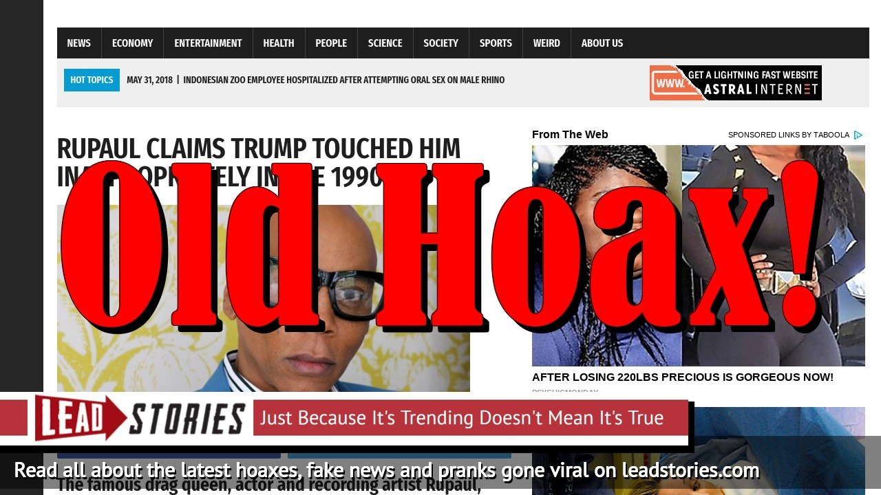 Screenshot of https://worldnewsdailyreport.com/rupaul-claims-trump-touched-him-inappropriately-in-the-1990s/