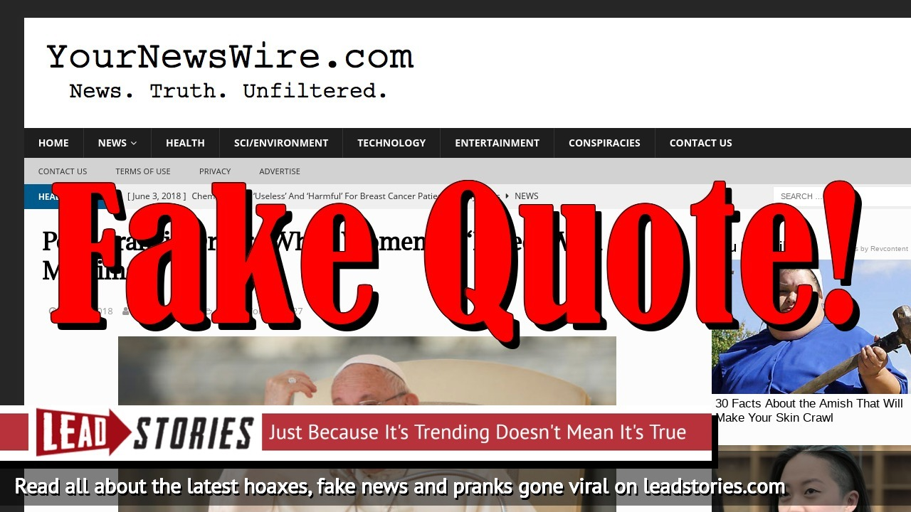 Fake News: Pope Francis Did NOT Order White Women To Breed With Muslims