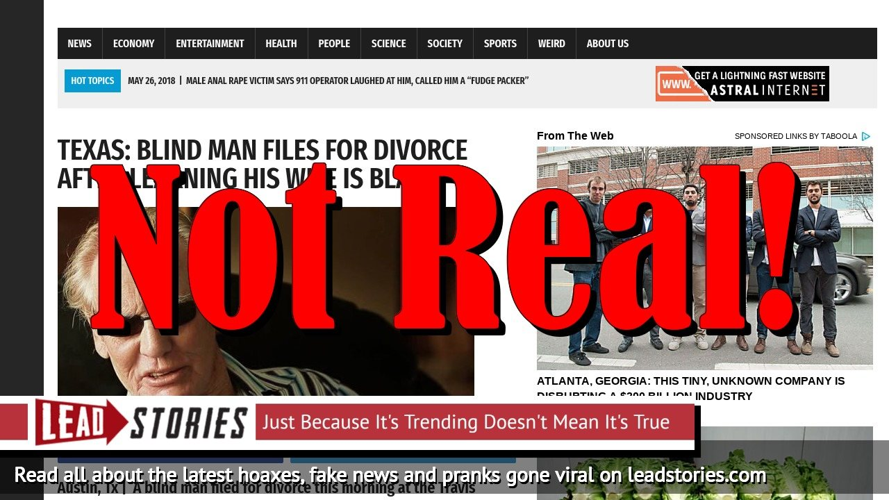 Fake News: Blind Man Did NOT File For Divorce In Texas After Learning His Wife Is Black