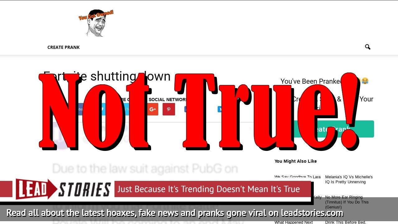 Fake News: Fortnite NOT Shutting Down