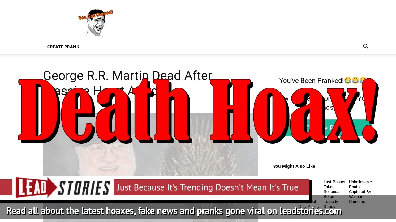 Fake News: George R.R. Martin NOT Dead After Massive Heart Attack