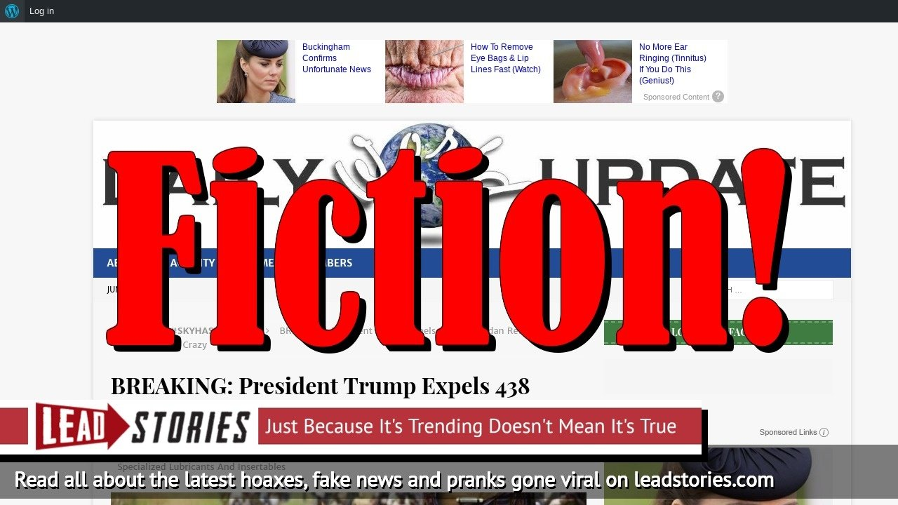 Screenshot of https://dailyworldupdate.us/2018/06/10/breaking-president-trump-expels-438-wakandan-refugees-liberals-going-crazy/