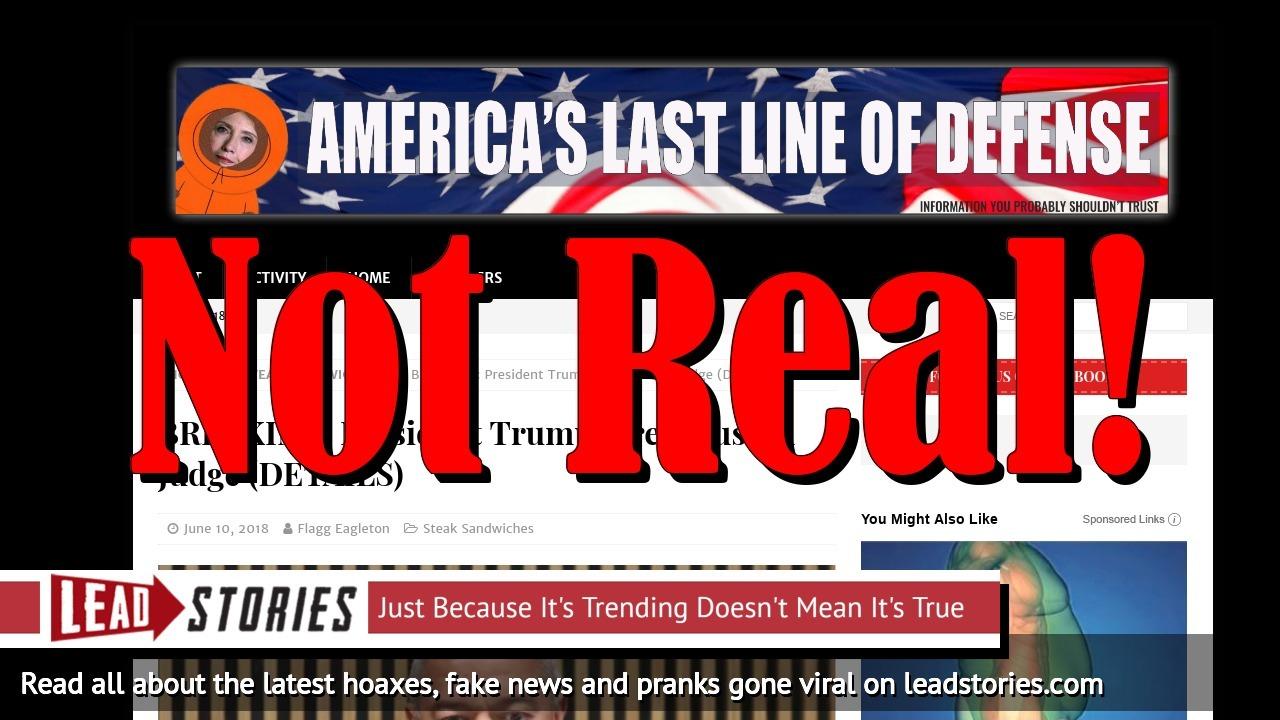 Screenshot of https://americaslastlineofdefense.org/breaking-president-trump-fires-muslim-judge-details/