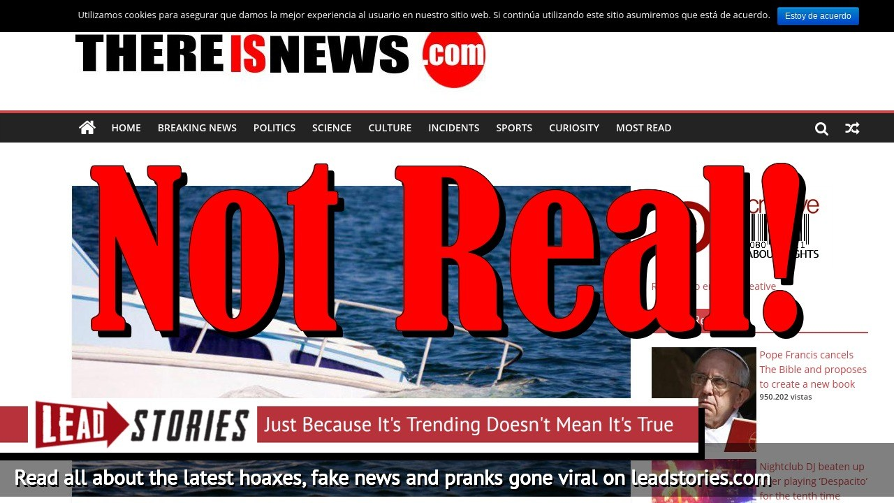 Fake News: Young Men Did NOT Rent Yacht, It Did NOT Sink By Excess Of Prostitutes