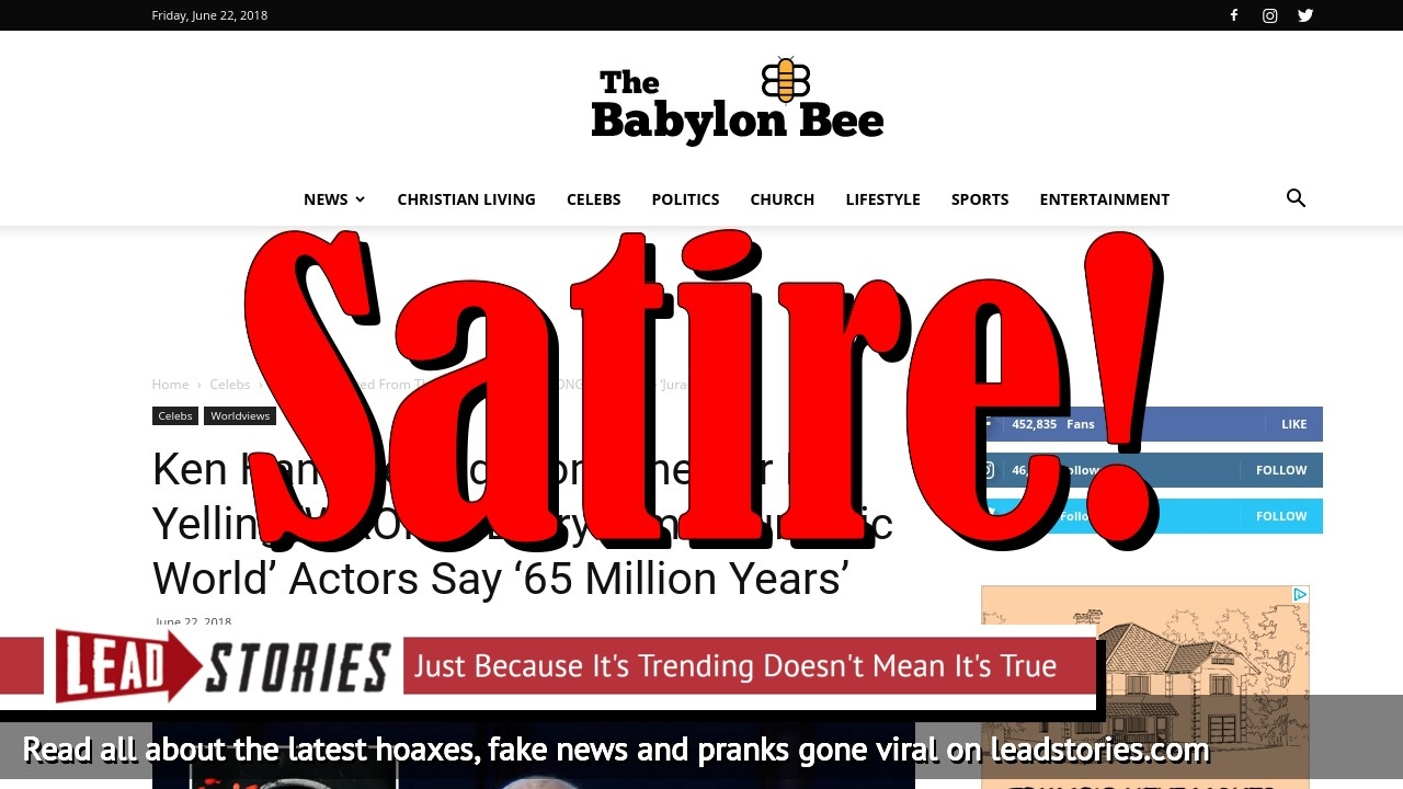 Screenshot of https://babylonbee.com/news/ken-ham-ejected-from-theater-for-yelling-wrong-every-time-jurassic-world-actors-say-65-million-years/