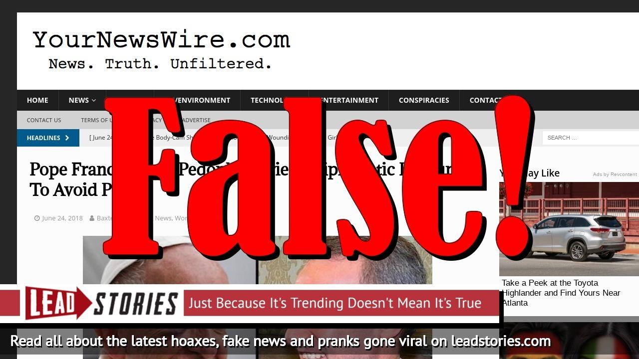 Screenshot of https://yournewswire.com/pope-francis-pedophile-priest-immunity/