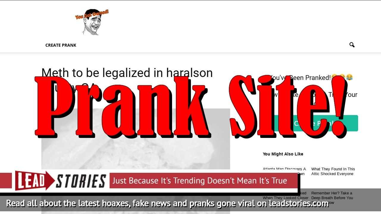Fake News: Meth NOT To Be Legalized In Haralson County, Georgia