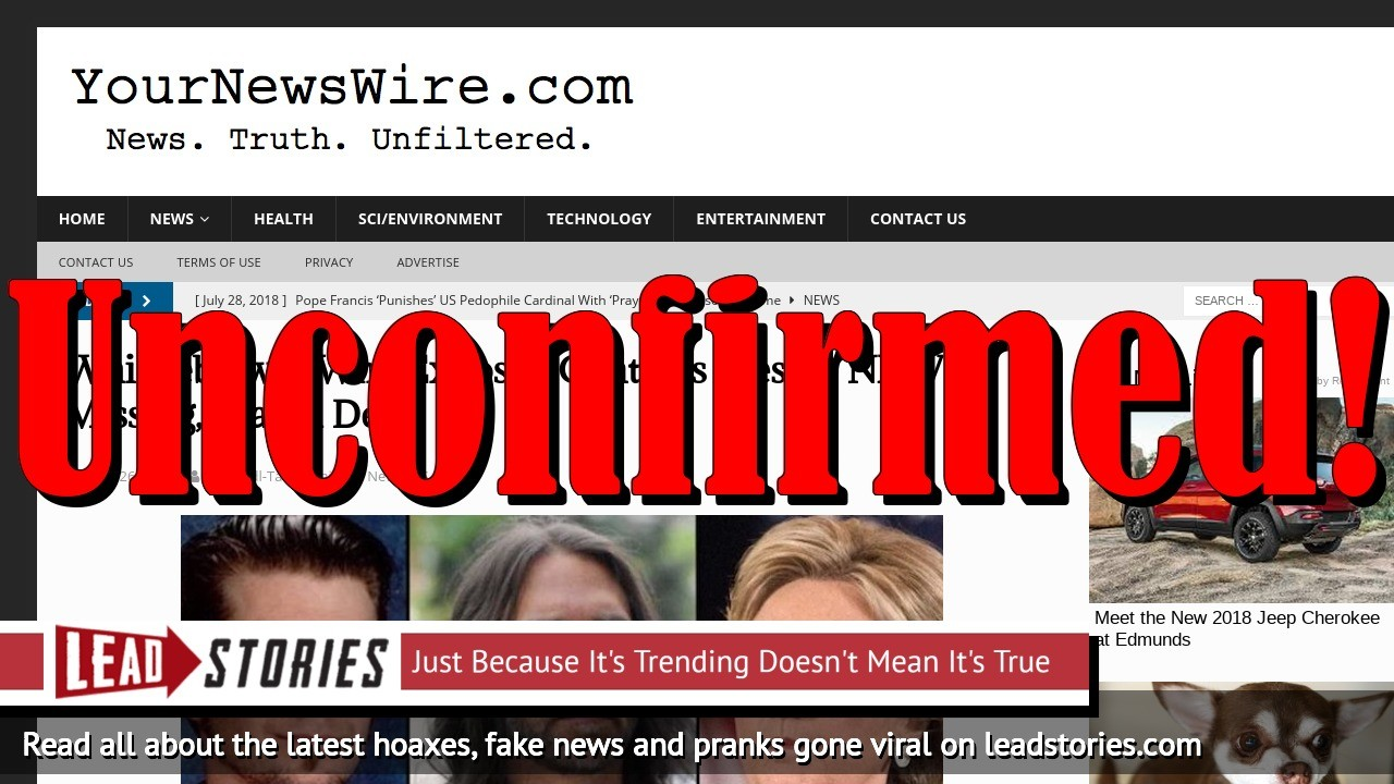 Fake News: Whistleblower Who Exposed Clinton's Ties To NXIVM LIKELY NOT Missing, Feared Dead