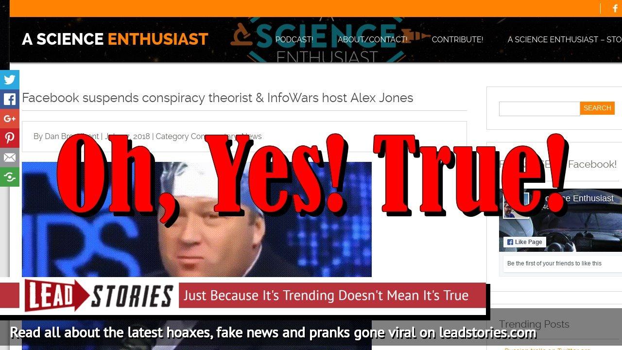 Screenshot of https://ascienceenthusiast.com/facebook-suspends-conspiracy-theorist-infowars-host-alex-jones/