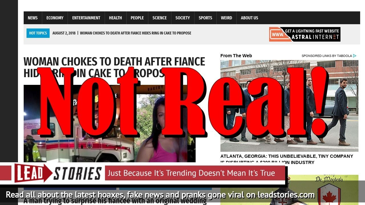 Screenshot of https://worldnewsdailyreport.com/woman-chokes-to-death-after-fiance-hides-ring-in-cake-to-propose/