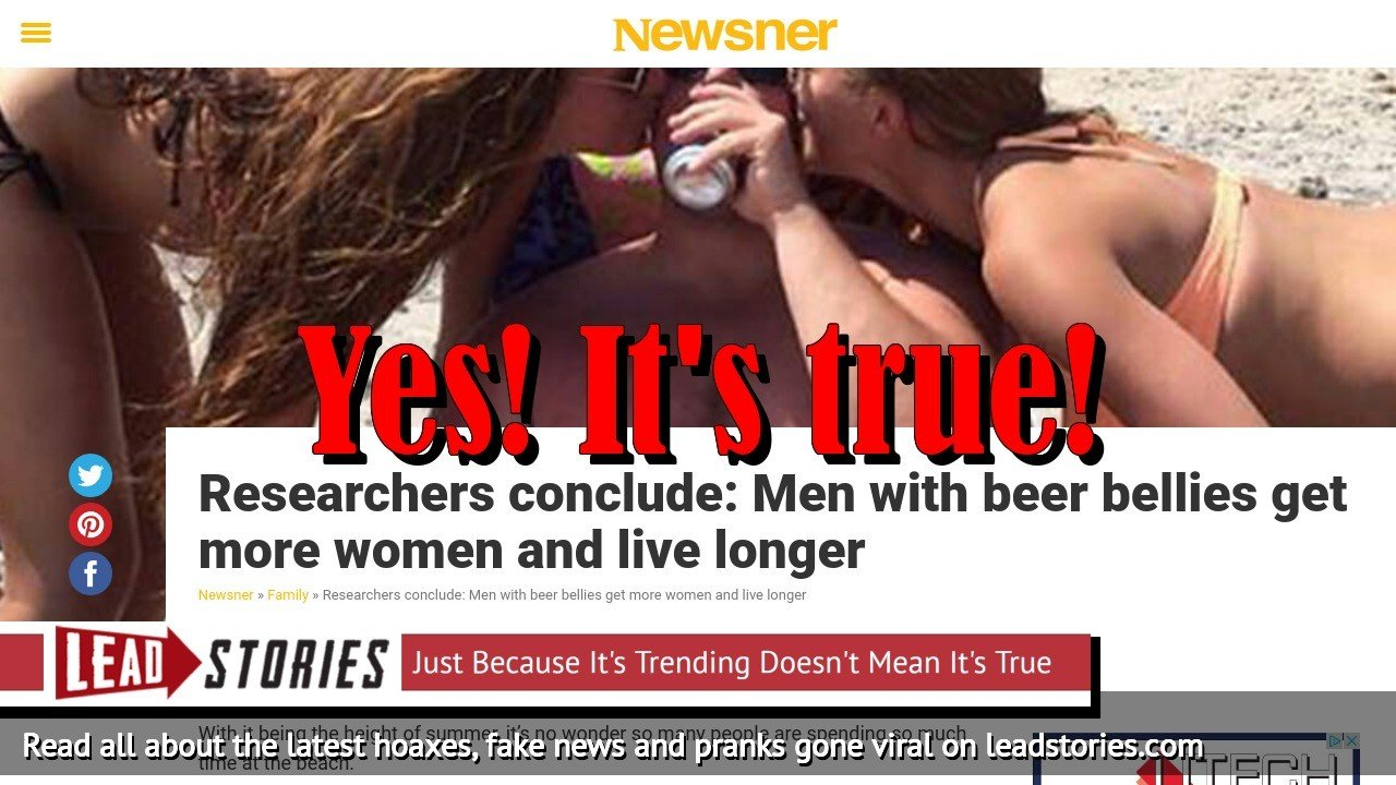 NOT Fake News: Research confirms: Men with beer bellies attract more women and live longer