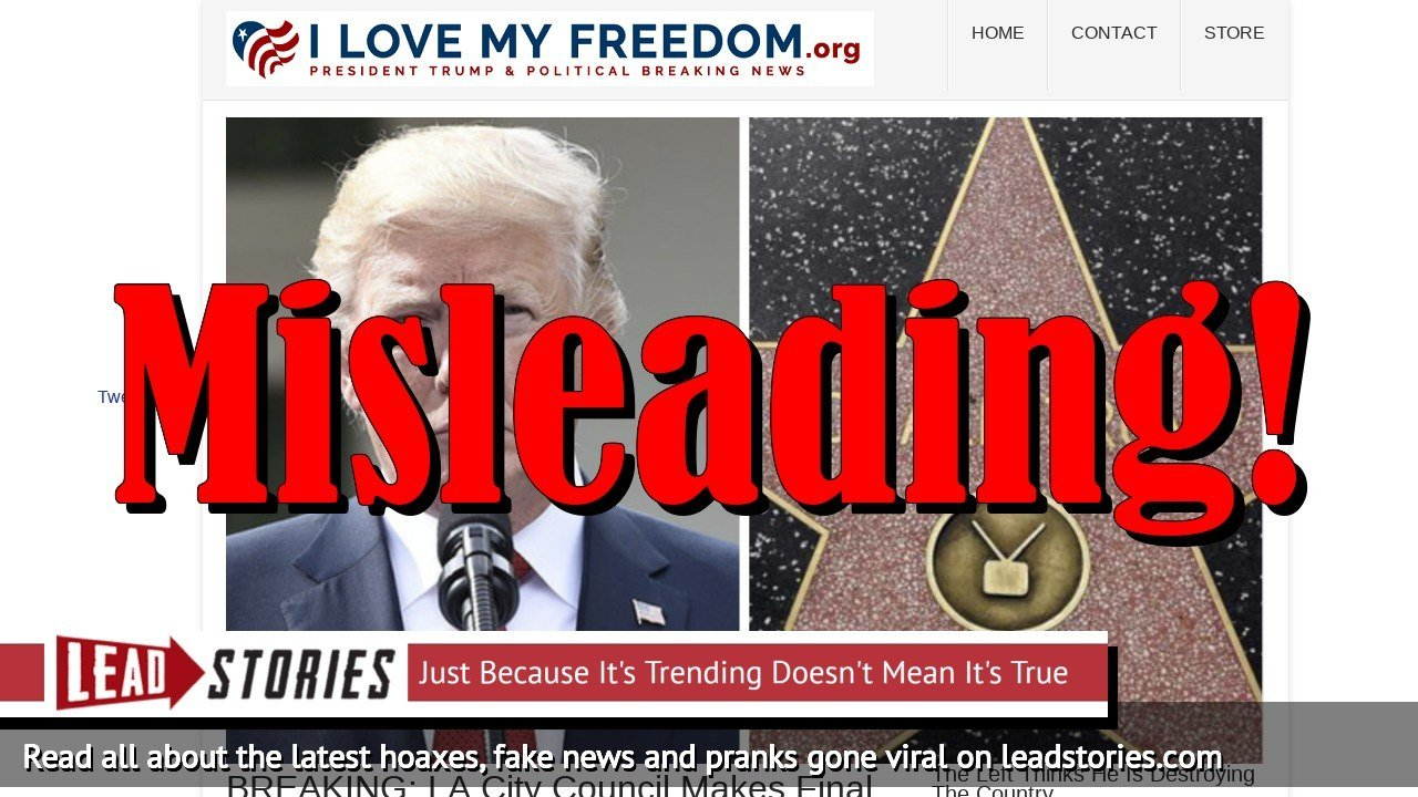 Fake News: LA City Council Did NOT Make Final Decision To Permanently Remove Trump's Walk Of Fame Star