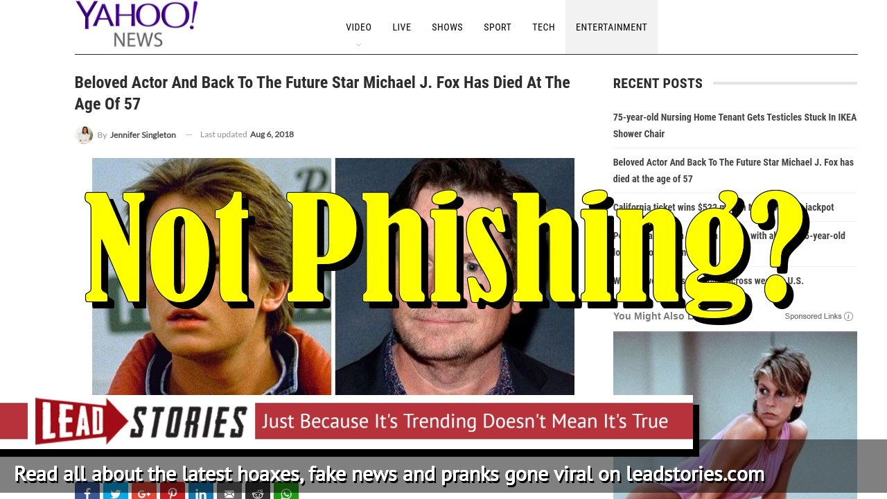 Exclusive: Fake News Website Owner Responsible For Michael J. Fox Death Hoax Denies Phishing Allegations