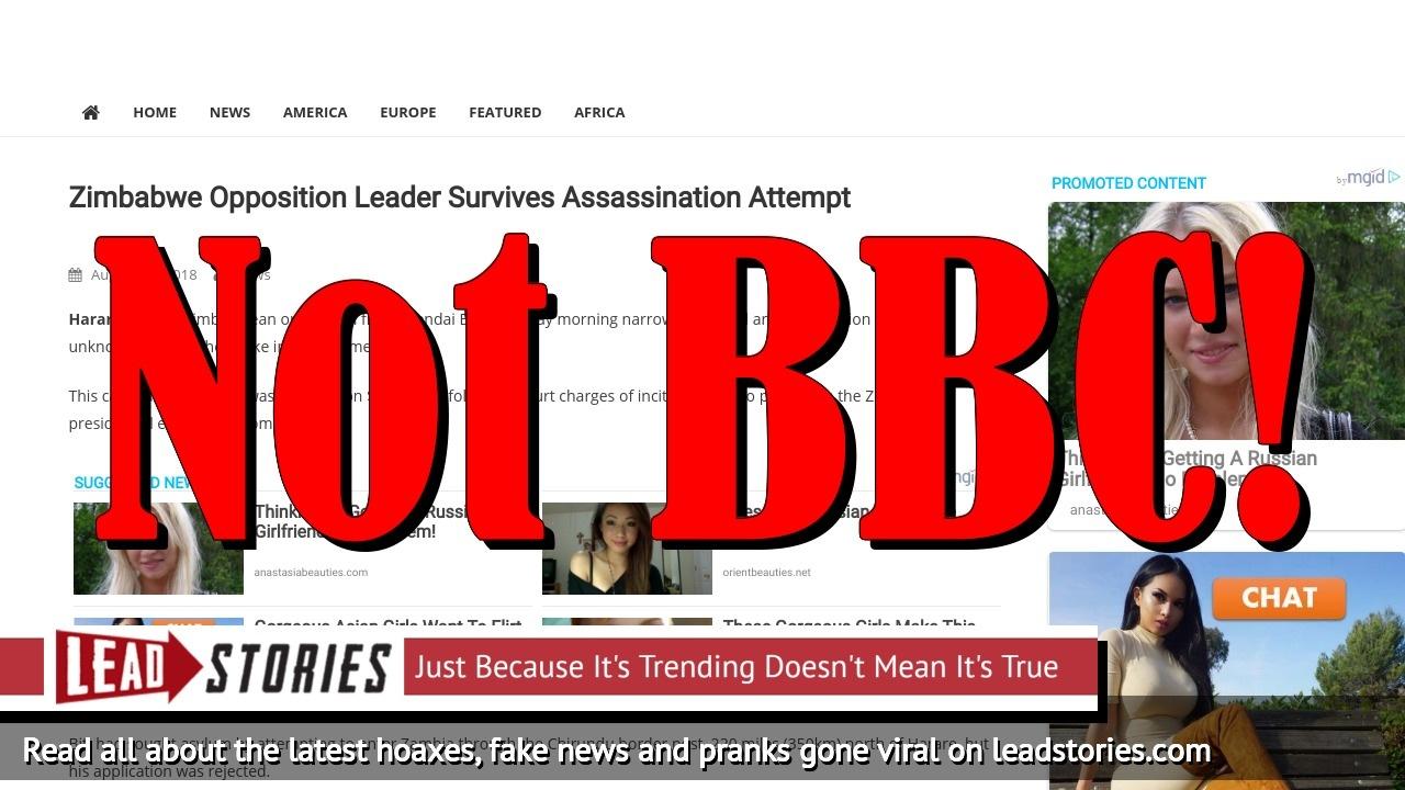 Screenshot of http://www.radio-bbc.com/2018/08/10/zimbabwe-opposition-leader-survives/
