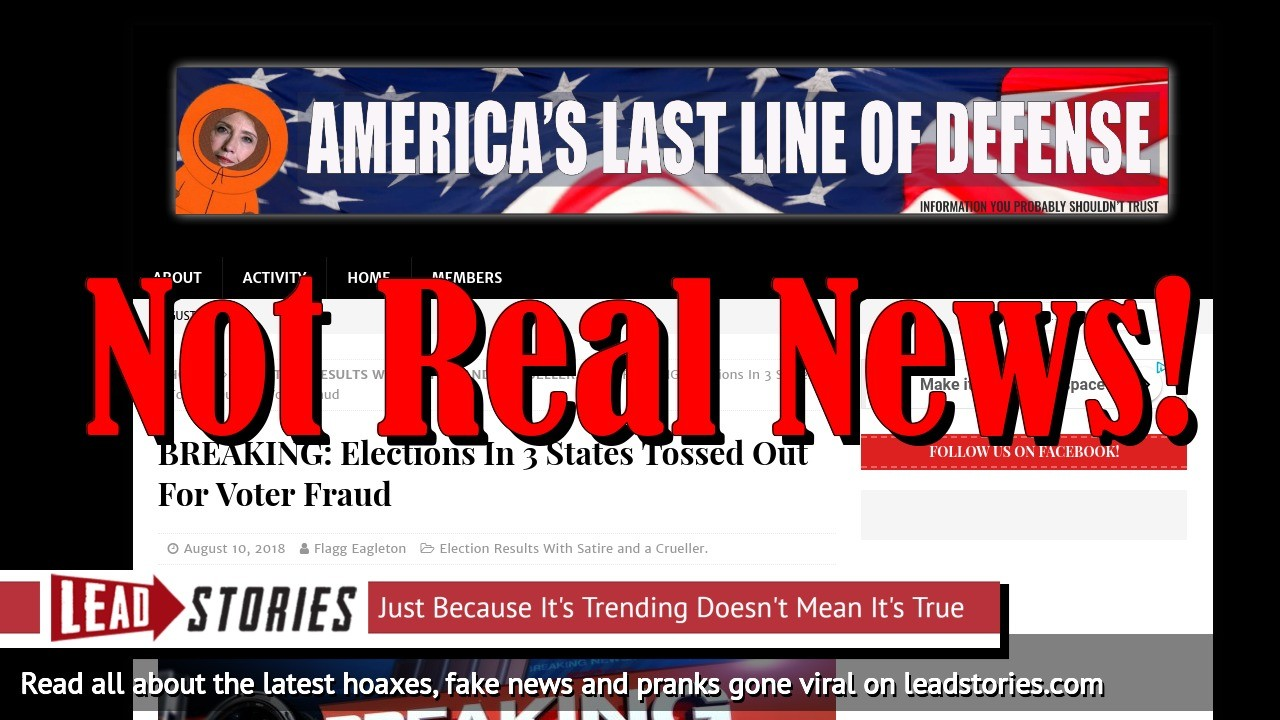 Fake News: Elections In 3 States NOT Tossed Out For Voter Fraud