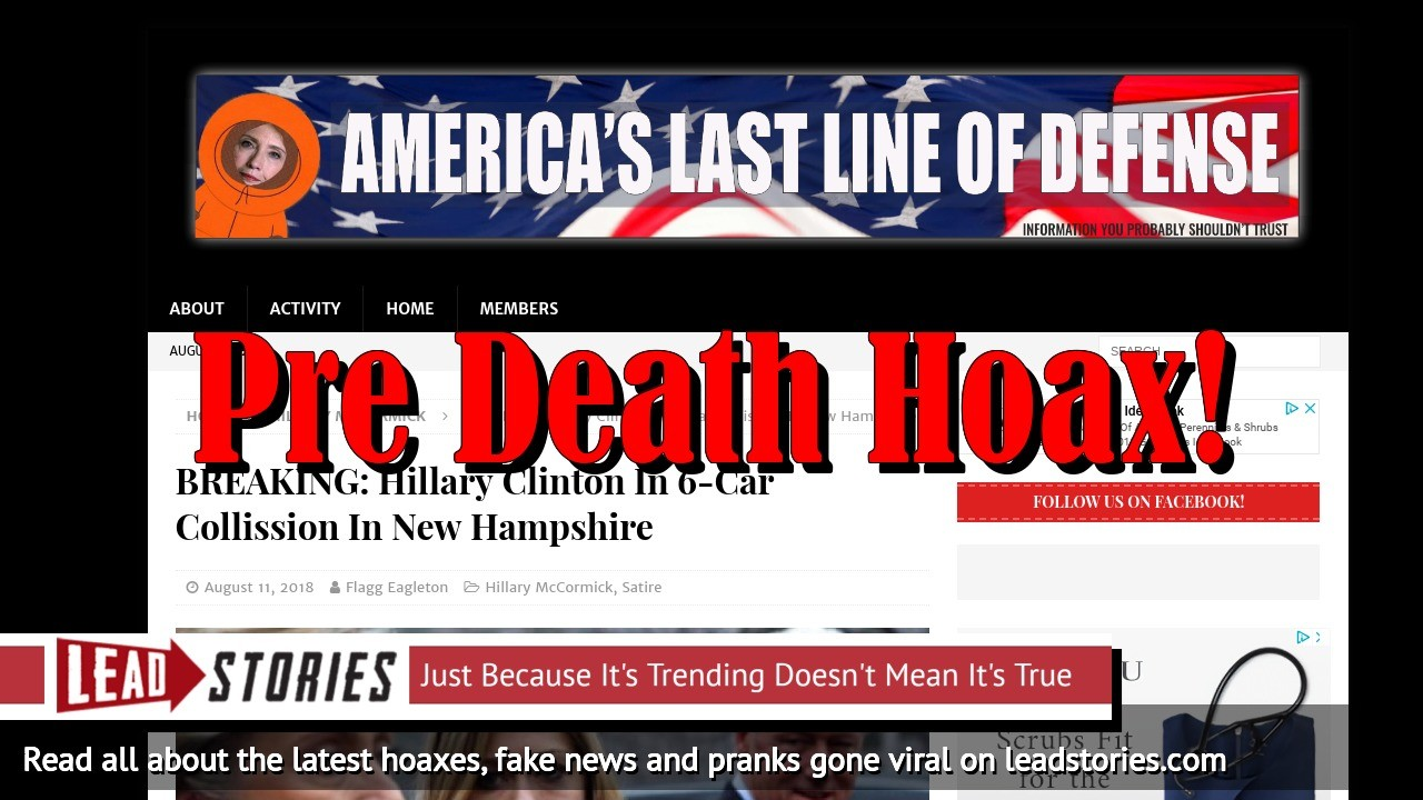 Screenshot of https://americaslastlineofdefense.org/breaking-hillary-clinton-in-6-car-collission-in-new-hampshire/