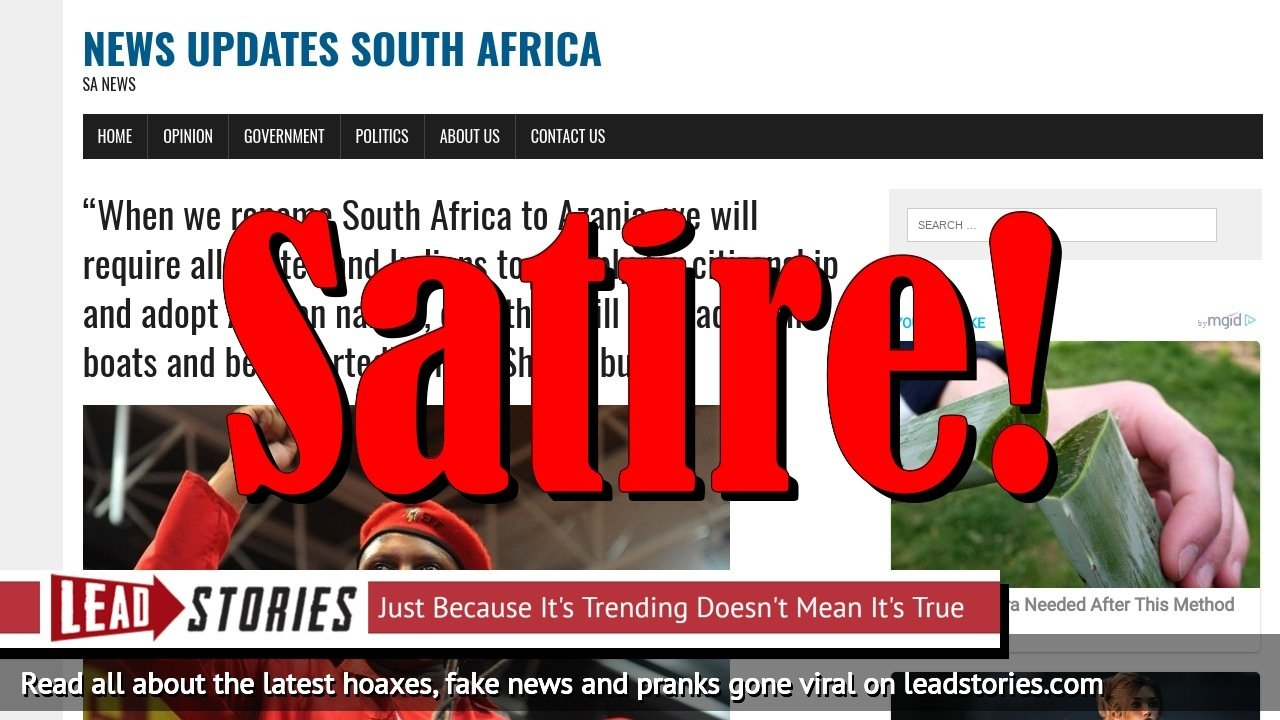 Screenshot of http://newsupdatessa.site/when-we-rename-south-africa-to-azania-we-will-require-all-whites-and-indians-to-reapply-for-citizenship-and-adopt-african-names-else-they-will-be-loaded-on-boats-and-deported-floyd-shivambu/