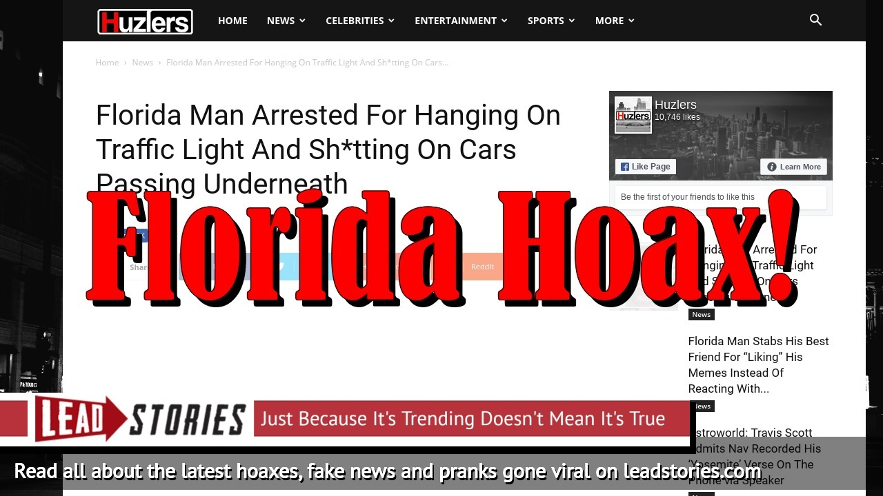 Fake News: Florida Man NOT Arrested For Hanging On Traffic Light And Sh*tting On Cars Passing Underneath