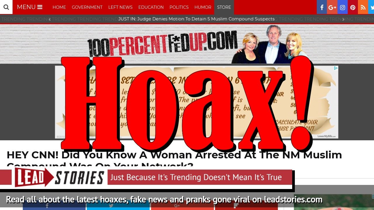 Screenshot of https://100percentfedup.com/hey-cnn-did-you-know-a-woman-arrested-at-the-nm-muslim-compound-was-on-your-network/