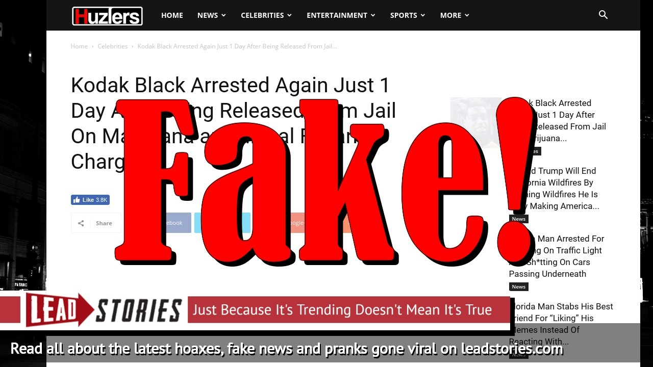 Screenshot of http://www.huzlers.com/kodak-black-arrested-again-just-1-day-after-being-released-from-jail-on-marijuana-and-illegal-firearm-charges/