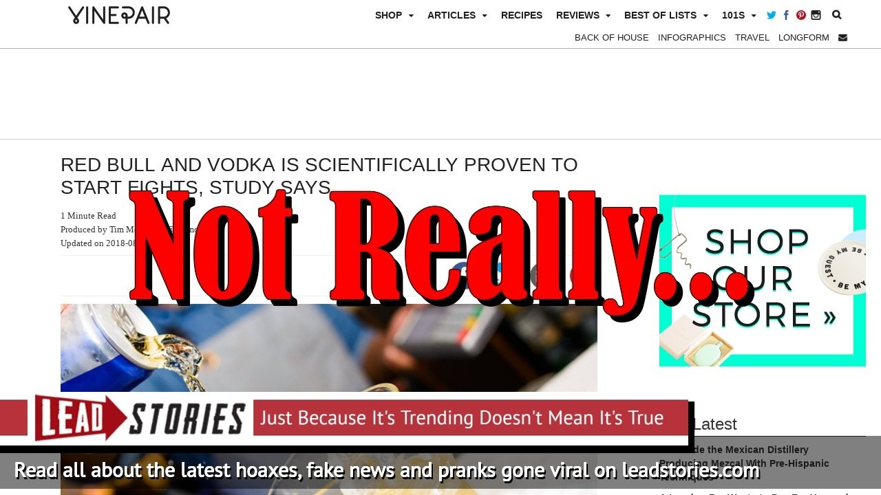 Fake News: Red Bull and Vodka NOT Scientifically Proven to Start Fights, Study Did NOT Say That