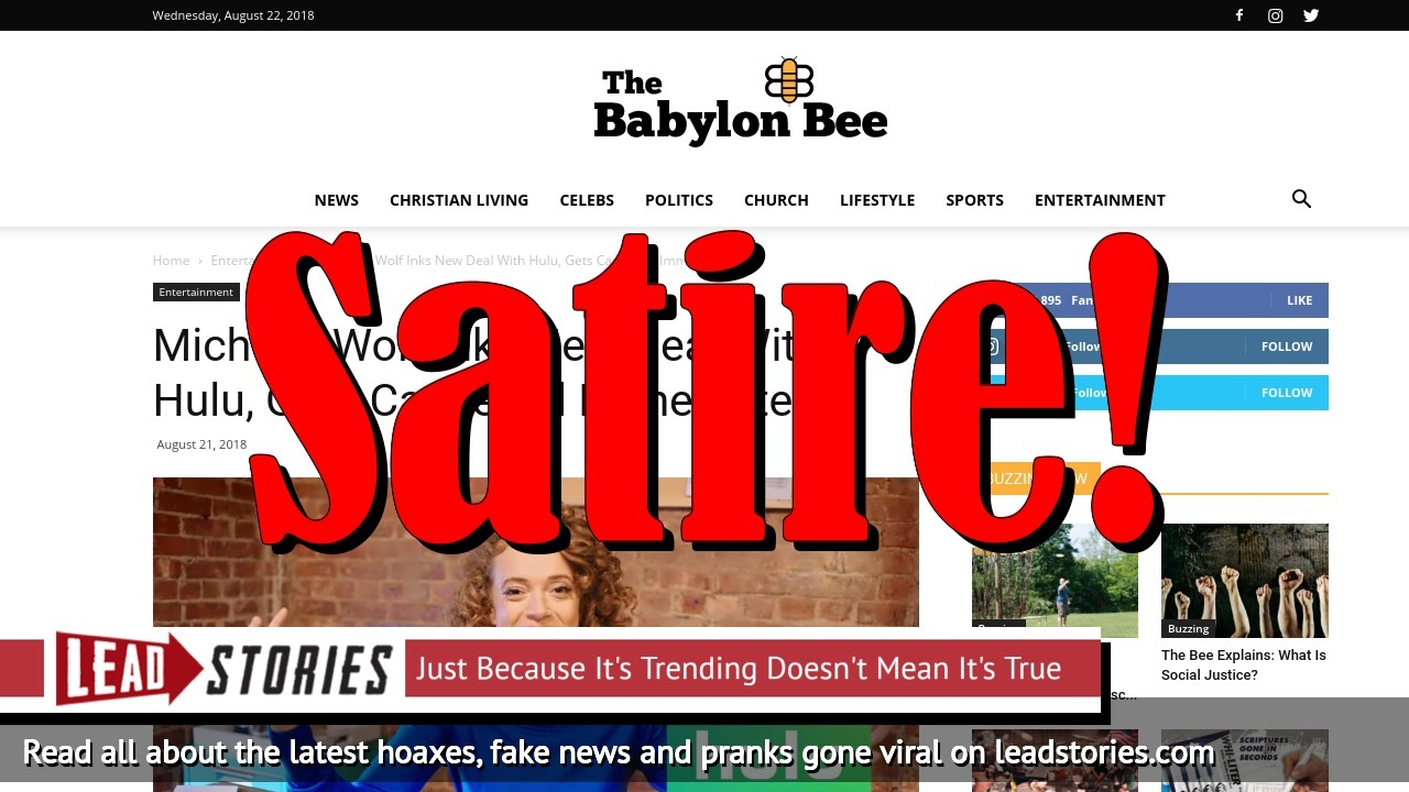 Screenshot of https://babylonbee.com/news/michelle-wolf-inks-new-deal-with-hulu-gets-cancelled-immediately/