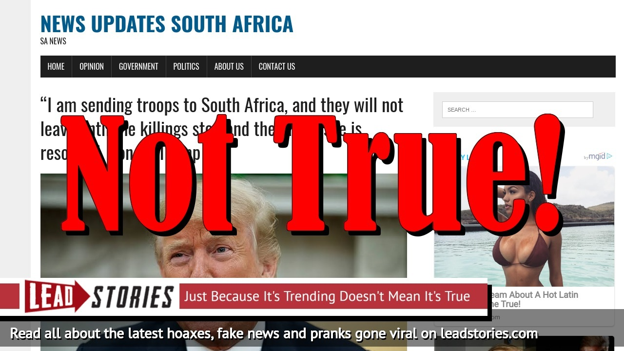 "Fake News: Donald Trump Did NOT Announce ""I am sending troops to South Africa, and they will not leave until the killings stop and the land issue is resolved'"
