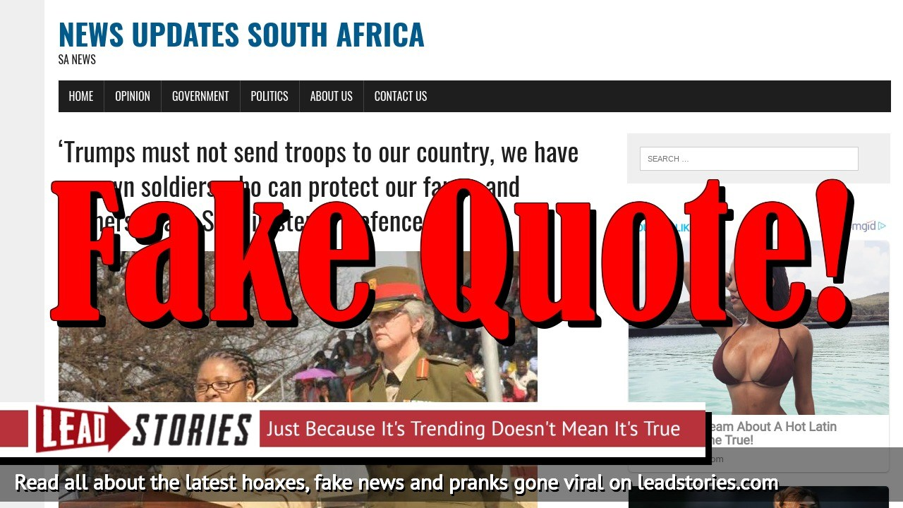 Screenshot of http://newsupdatessa.site/trumps-must-not-send-troops-to-our-country-we-have-our-own-soldiers-who-can-protect-our-farms-and-farmers-says-sa-minister-of-defence/