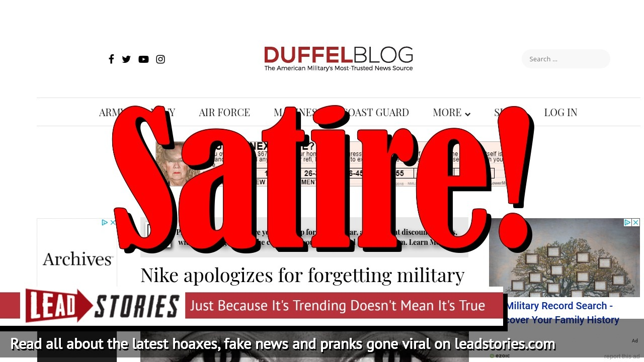 Screenshot of https://www.duffelblog.com/2018/09/nike-apologizes-for-forgetting-military-monopoly-on-sacrifice/