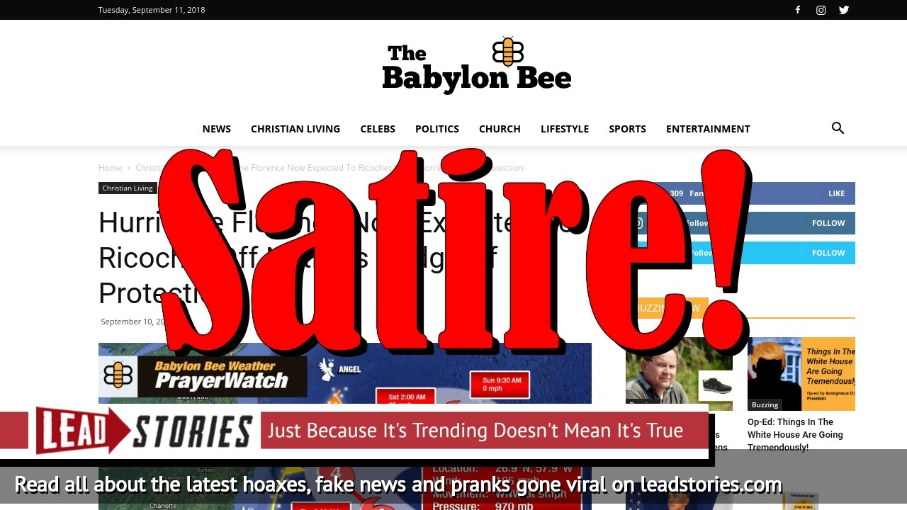 Screenshot of https://babylonbee.com/news/hurricane-florence-now-expected-to-ricochet-off-nations-hedge-of-protection/
