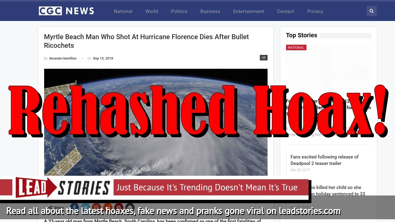Screenshot of http://cgcnews.com/myrtle-beach-man-who-shot-at-hurricane-florence-dies-after-bullet-ricochets/