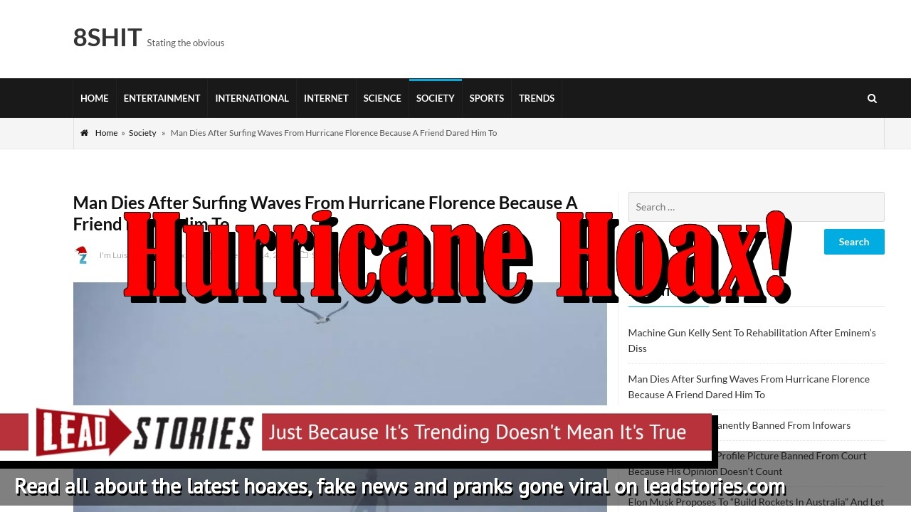 Fake News: Man Did NOT Die After Surfing Waves From Hurricane Florence Because A Friend Dared Him To