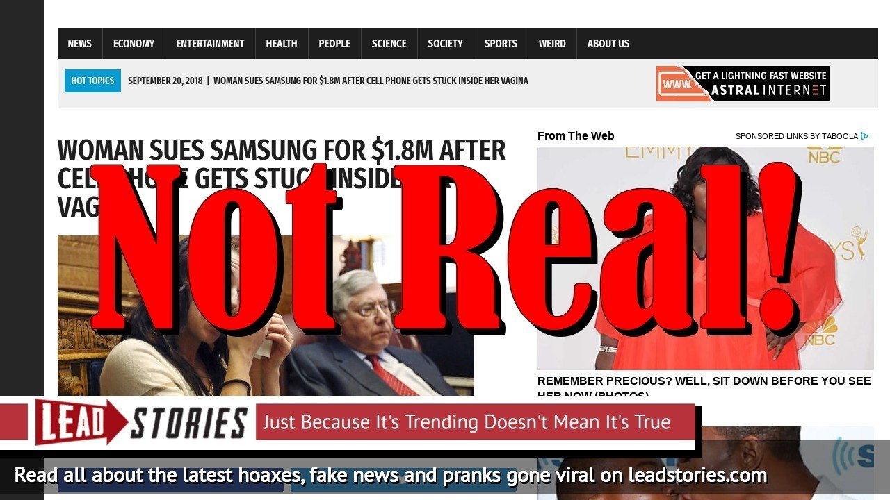 Fake News: Woman Did NOT Sue Samsung For $1.8M, Cell Phone NOT Stuck Inside Her Vagina