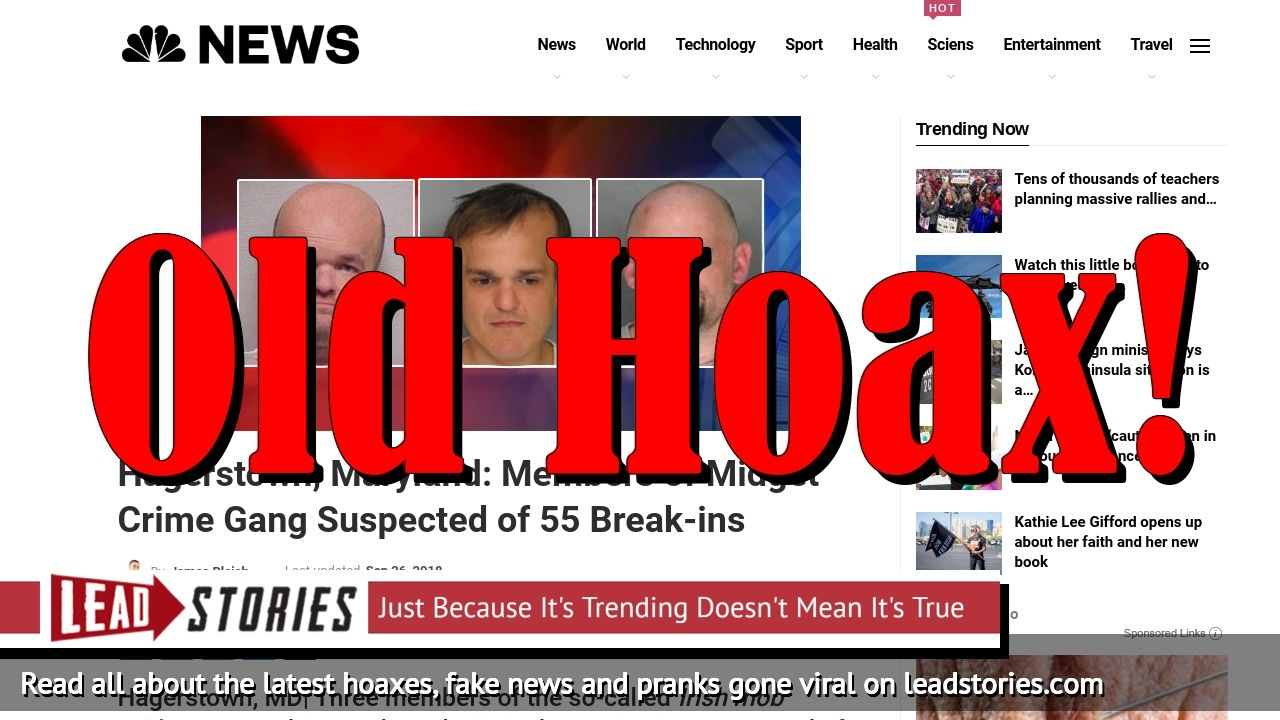 Fake News: NO Midget Crime Gang Suspected of 55 Break-ins In Hagerstown, Maryland