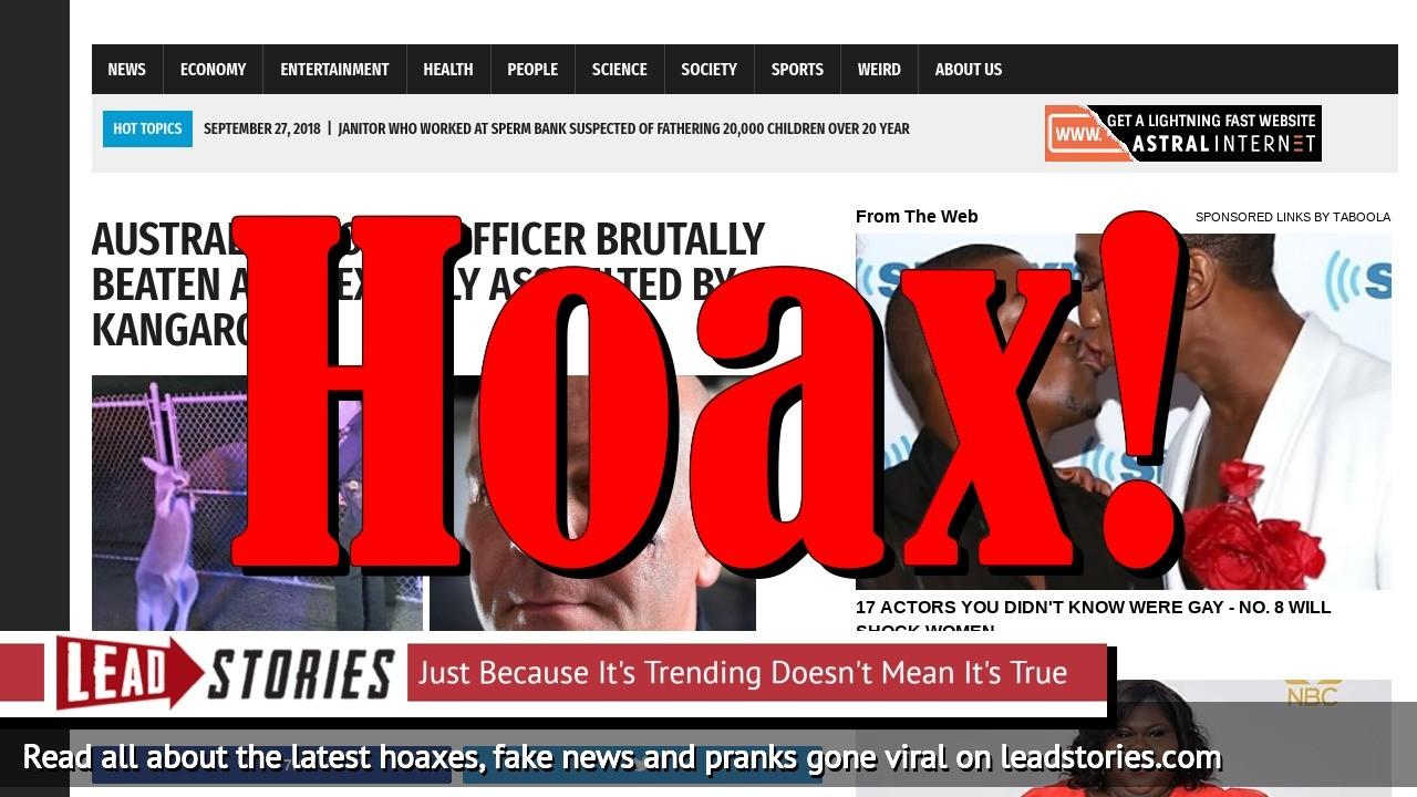 Screenshot of https://worldnewsdailyreport.com/australian-police-officer-brutally-beaten-and-sexually-assaulted-by-kangaroo/