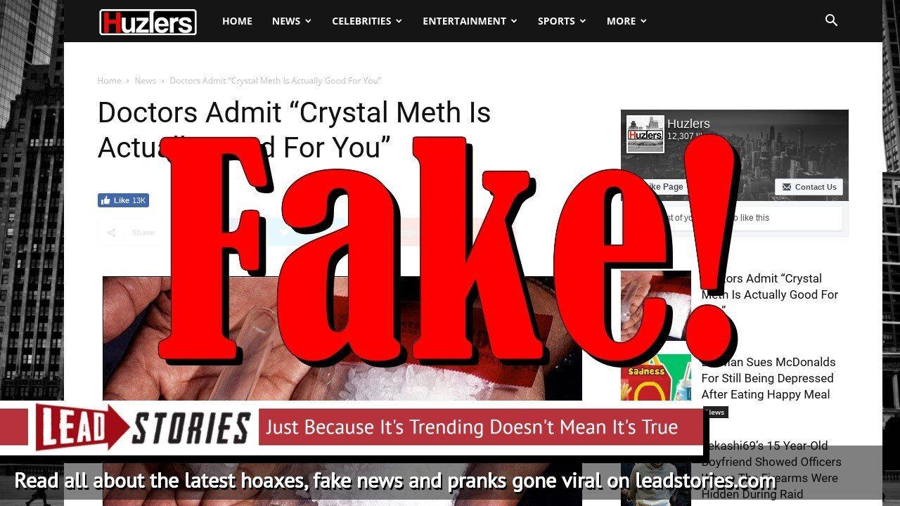 Screenshot of http://www.huzlers.com/crystal-meth-actually-good-for-you-admit-doctors/