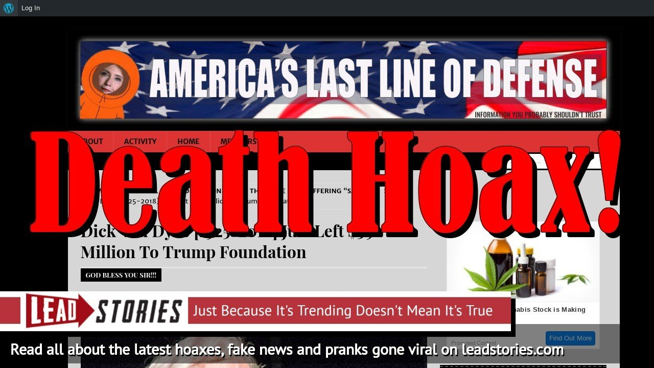 Fake News: Dick Van Dyke Did NOT Die, Did NOT Leave $59 Million To Trump Foundation