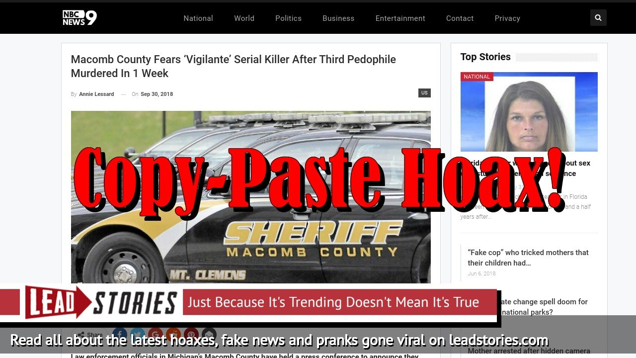 Fake News: No Fears About Vigilante Serial Killer, NO Third