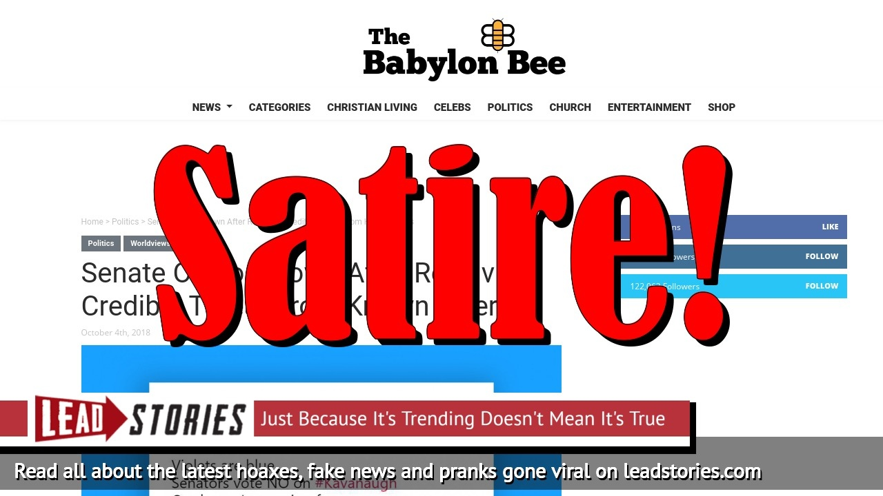 Screenshot of https://babylonbee.com/news/senate-on-lockdown-after-receiving-credible-threat-from-known-killers