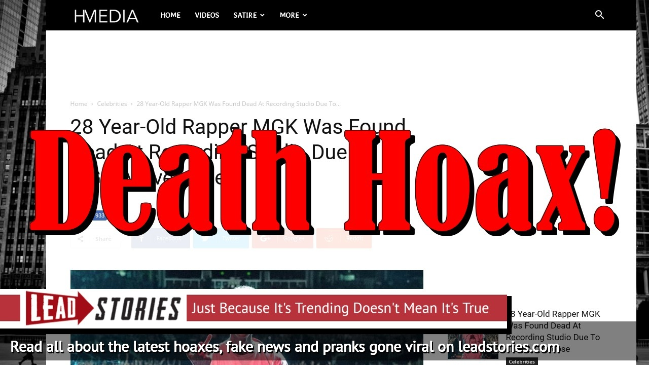 Fake News: 28 Year-Old Rapper MGK Was NOT Found Dead At Recording Studio Due To LIGMA Overdose