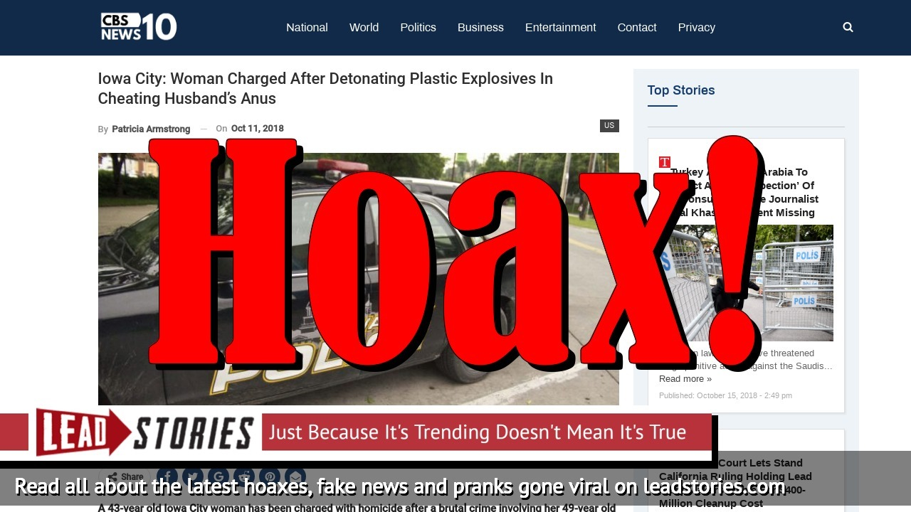 Screenshot of http://cbsnews10.com/iowa-city-woman-charged-after-detonating-plastic-explosives-in-cheating-husbands-anus/