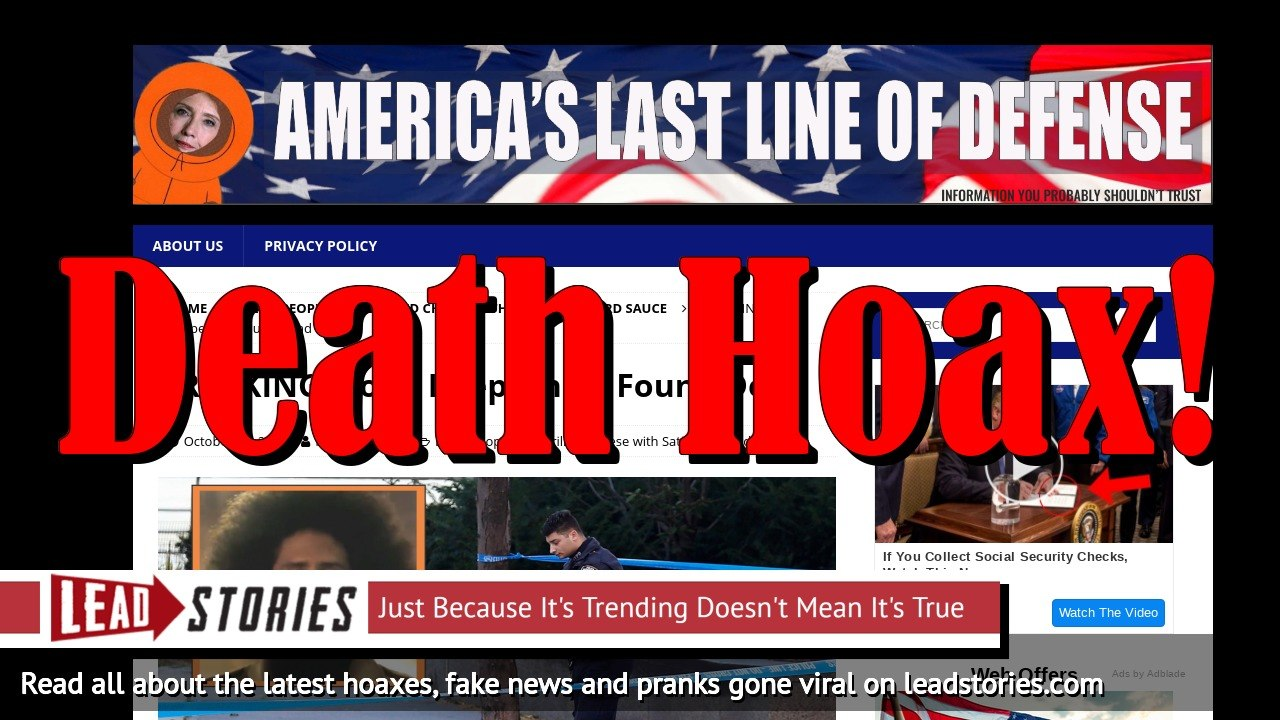 Fake News: Colin Kaepernick NOT Found Dead -- Several Fake News Sites Copy Satirical Article