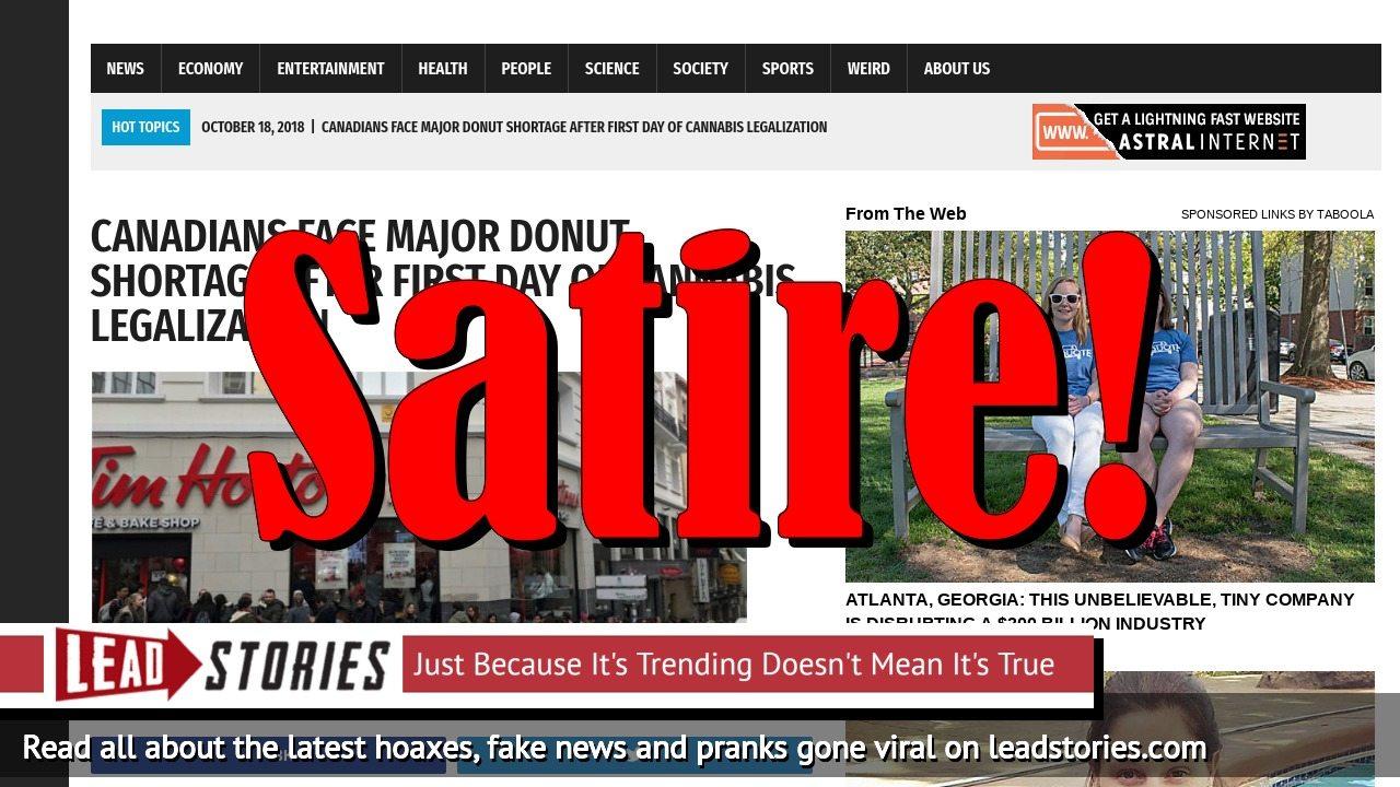 Screenshot of https://worldnewsdailyreport.com/canadians-face-major-donut-shortage-after-first-day-of-cannabis-legalization/