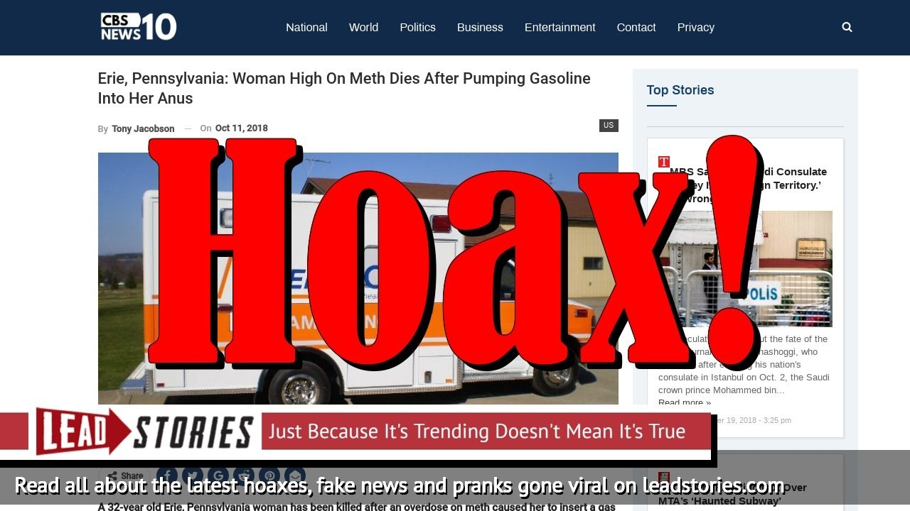 Screenshot of http://cbsnews10.com/erie-pennsylvania-woman-high-on-meth-dies-after-pumping-gasoline-into-her-anus/