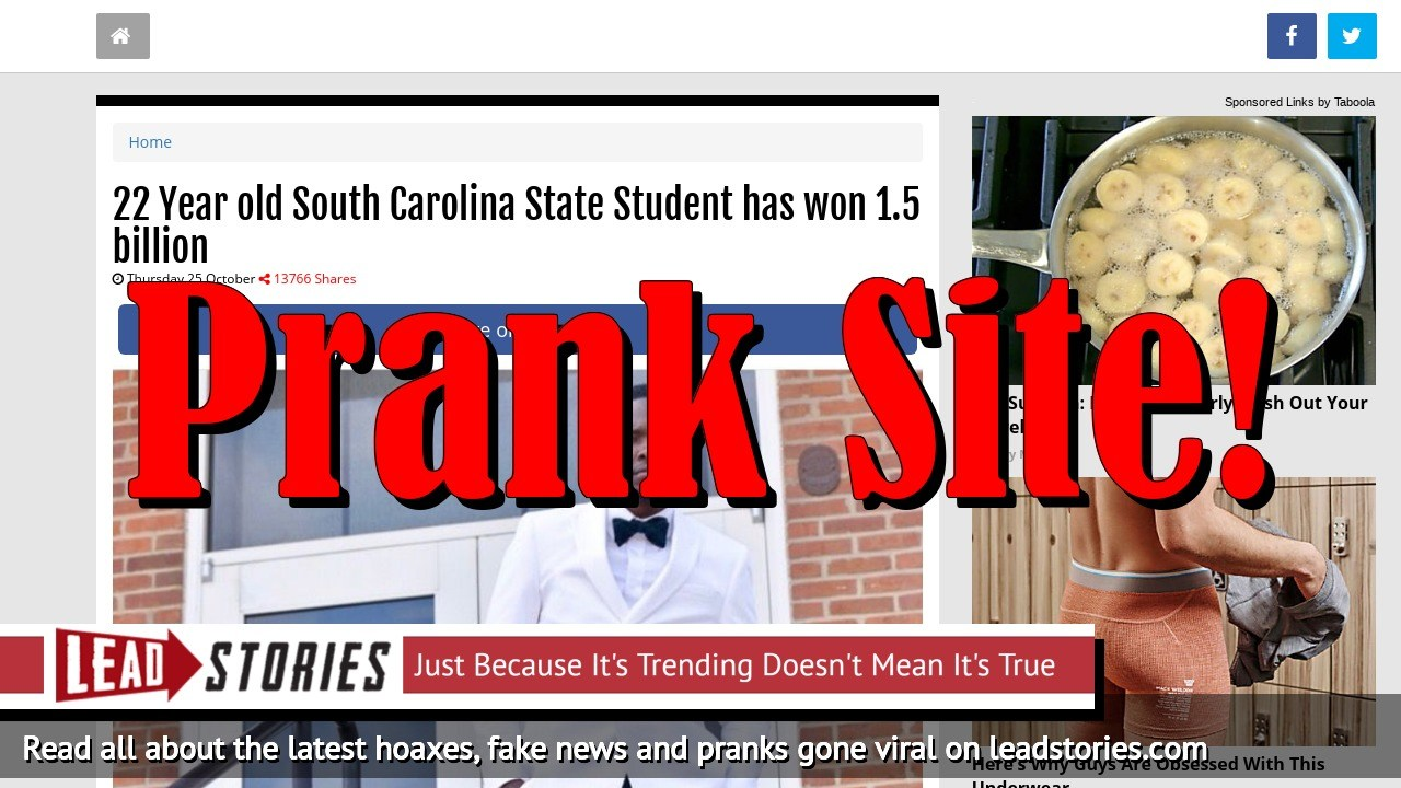 Screenshot of https://www.nsfnews.com/5bd0b81472fae/22-year-old-south-carolina-state-student-has-won-1-5-billion.html