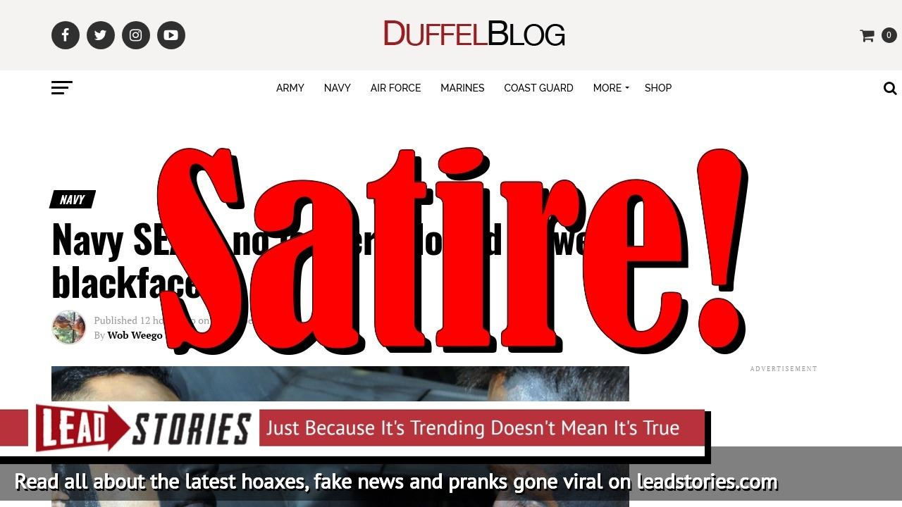 Screenshot of https://www.duffelblog.com/2018/11/navy-seals-blackface/