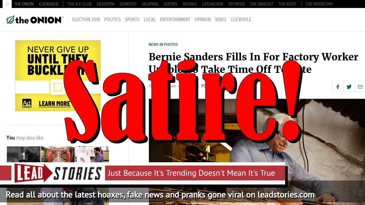 Screenshot of https://www.theonion.com/bernie-sanders-fills-in-for-factory-worker-unable-to-ta-1819592698