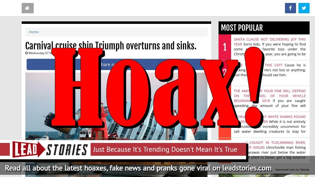 Fake News: Carnival Cruise Ship Triumph Did NOT Overturn And Sink