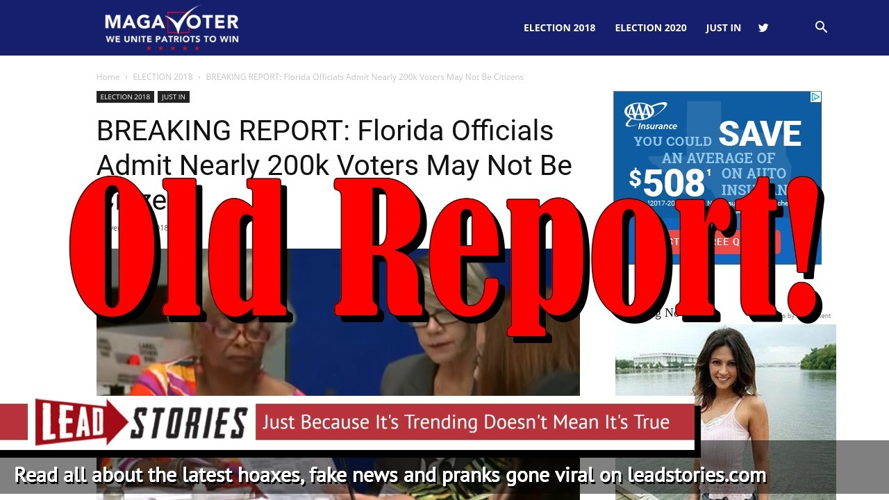 Fake News: Florida Officials Did NOT Admit Nearly 200k Voters May Not Be Citizens In 2018