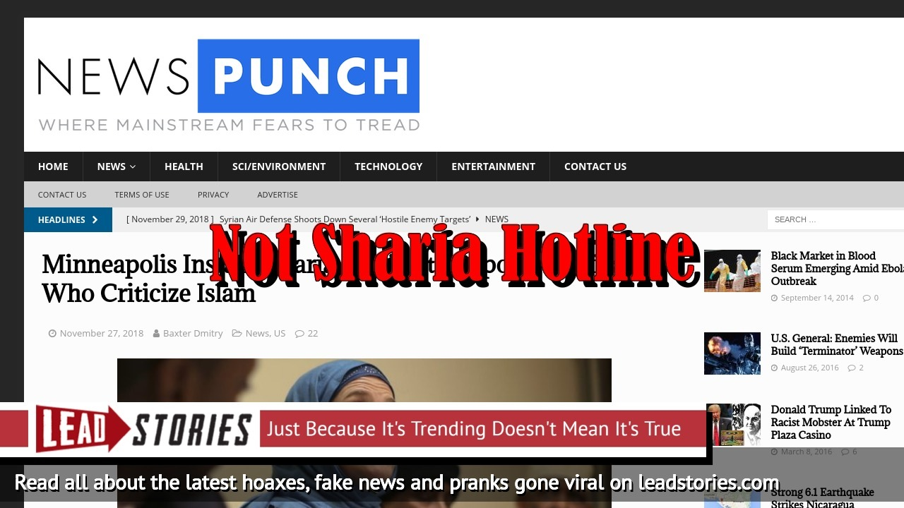 Fake News: Minneapolis Did NOT Install Sharia Hotline to Report Americans Who Criticize Islam